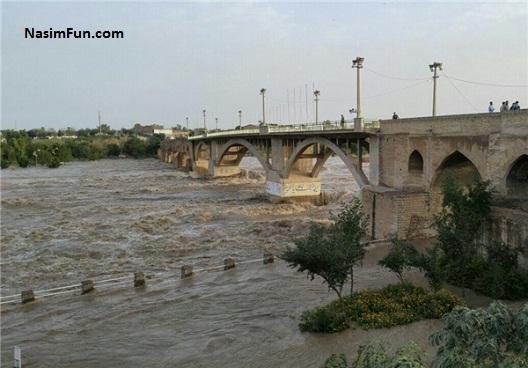 خبر سیل در خورستان و رودخانه دز دزفول 26 فروردین 95