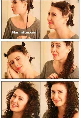 آموزش تصویری فر کردن مو سر در خانه فروردین 95