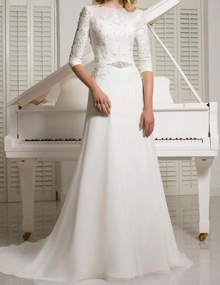 مدل لباس عروس جدید آستین دار فروردین ۹۵