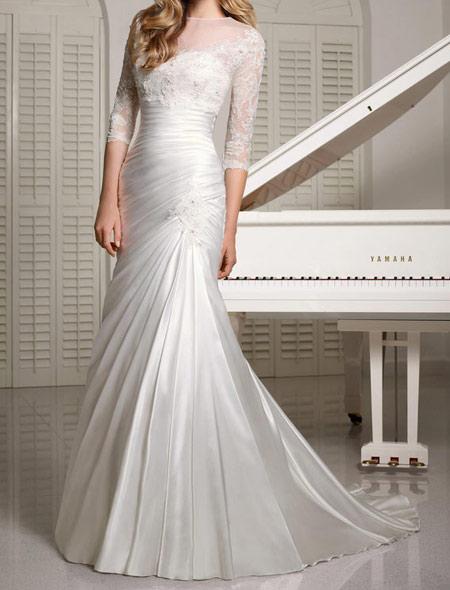 مدل لباس عروس جدید آستین دار فروردین 95