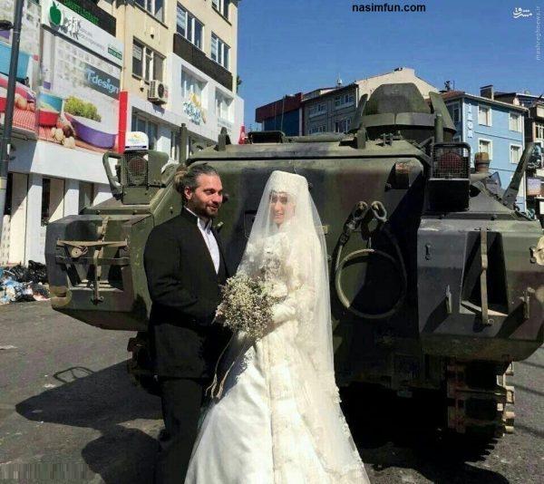 عروس و داماد ترکیه ای با تانک کودتاچیان عکس یادگاری گرفتند!!!
