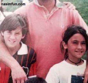 عکسی بسیار جالب از مسی در کنار همسرش در کودکی