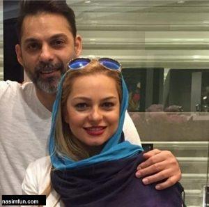 عکس عاشقانه پیمان معادی و همسرش فرانک قوانلو