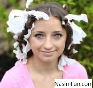 فر کردن مو با دستمال کاغذی