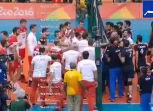 درگیری بازیکنان والیبال ایران و لهستان در پایان بازی