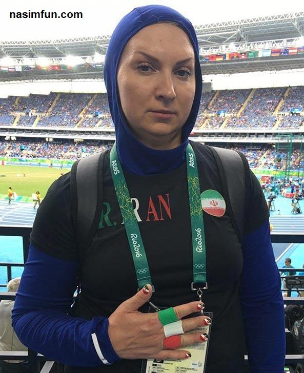 عکس پرچم ایران روی ناخن های لیلا رجبی