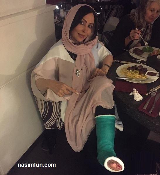 عکس های جدید پرستو صالحی باپای شکسته درجشن تولد!!!