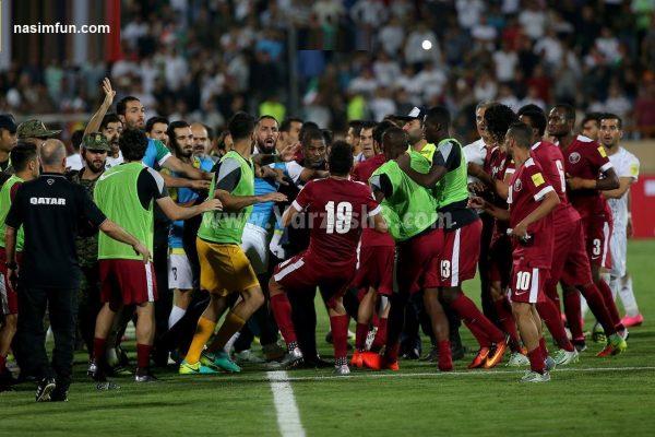 فیلم جنجالی دعوا و درگیری بازیکنان ایران و قطر+دانلود فیلم