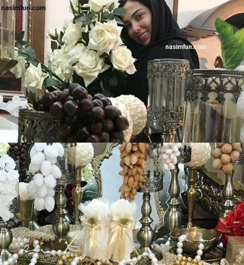 لیلا اوتادی درحال چیدن سفره عقد خواهرش!!!+عکس