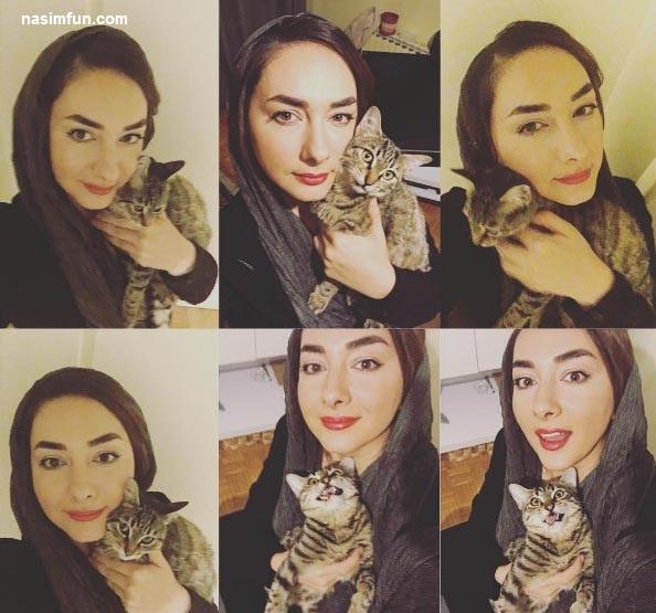 سلفی جدید هانیه توسلی با گربه اش!!+عکس