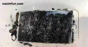 انفجار گوشی آیفون 7 بعداز افتادن !! + عکس