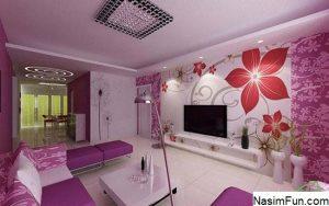 دکوراسیون خانه به رنگ بنفش و سفید