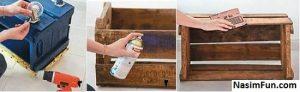 ساخت جاکفشی با جعبه چوبی
