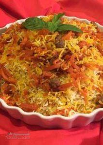 طرز تهیه هویج پلو با گوشت مجلسی و اصیل شیرازی + فیلم آموزشی