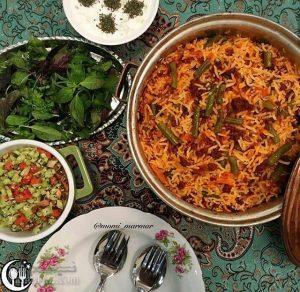 طرز تهیه استانبولی پلو با لوبیا سبز (لوبیا پلو) خوش رنگ و مجلسی + فیلم آموزشی