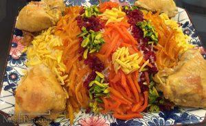 طرز تهیه شیرین پلو با مرغ مجلسی و مخصوص مهمانی+ فیلم آموزشی