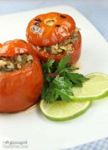 طرز تهیه دلمه گوجه فرنگی مجلسی برای پیش غذا + فیلم آموزشی