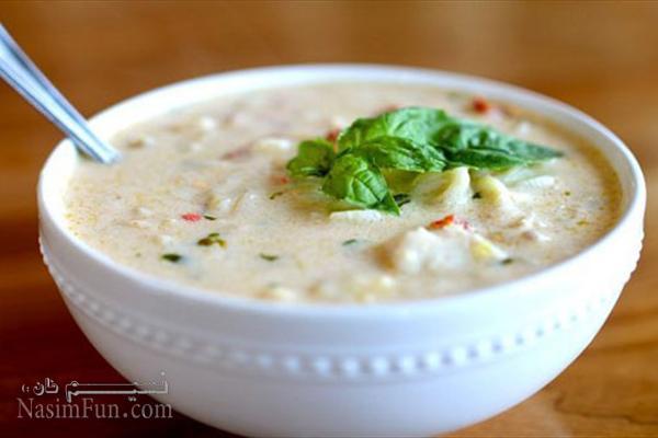 طرز تهیه سوپ شیر (سوپ سفید) رستورانی + فیلم آموزشی