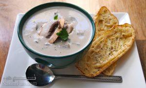 طرز تهیه سوپ قارچ مجلسی و فوق العاده خوشمزه + فیلم آموزشی