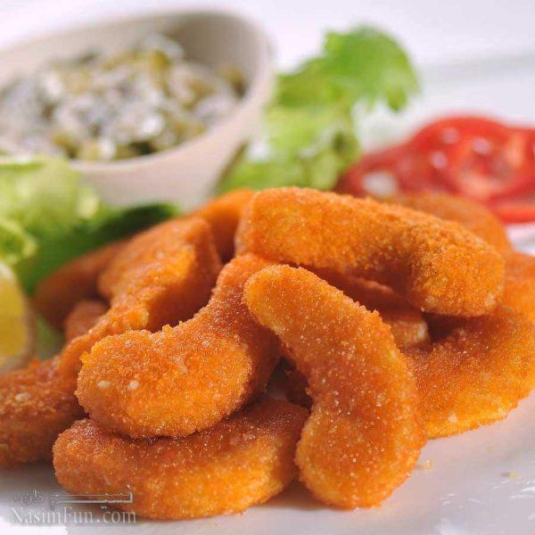 طرز تهیه خوراک میگو سوخاری مجلسی با سس مخصوص + فیلم آموزشی
