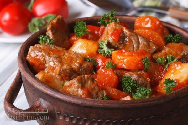 طرز تهیه خوراک تاس کباب مجلسی با گوشت گوسفند + فیلم آموزشی