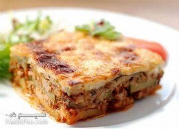 طرز تهیه خوراک موساکا (گراتن بادمجان) اصل یونانی و بسیار لذیذ + فیلم آموزشی