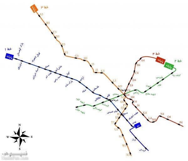 نقشه مترو مشهد + ساعات حرکت قطارها