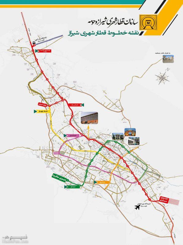 اطلاعات خطوط شش گانه مترو شیراز