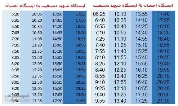 ساعات حرکت خطوط مترو شیراز