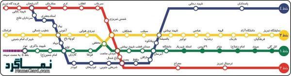 نقشه مترو تبریز + راهنمای ساعات حرکت قطارهای مترو تبریز