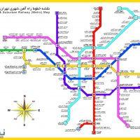 نقشه مترو تهران ۹۸ + جزئیات خطوط ۱-۷ مترو تهران و ساعت حرکت قطارها