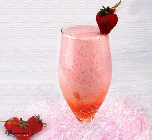میلک شیک توت فرنگی خوشمزه + تزیین