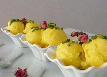 طرز تهیه بستنی زعفرانی خوشمزه + تزیین