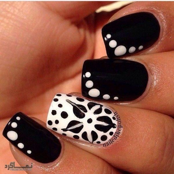 طراحی ناخن به رنگ سیاه و سفید