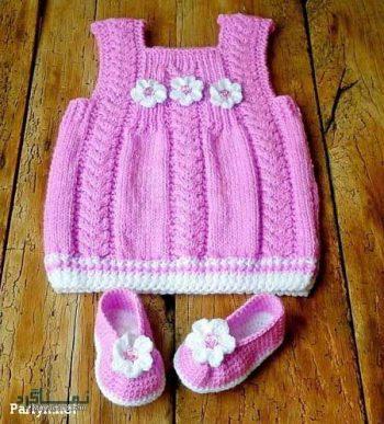 لباس بافتنی دختر بچه گانه