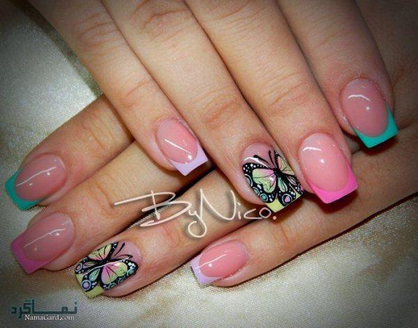 طراحی پروانه روی ناخن