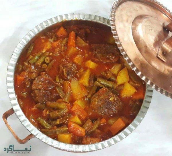دستور پخت خوراک گوشت و لوبیا خوشمزه به همراه فیلم آموزشی