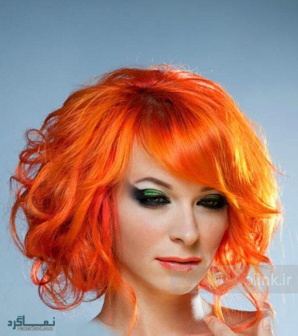 رنگ موی نارنجی آتشین برای مدل موی زنانه