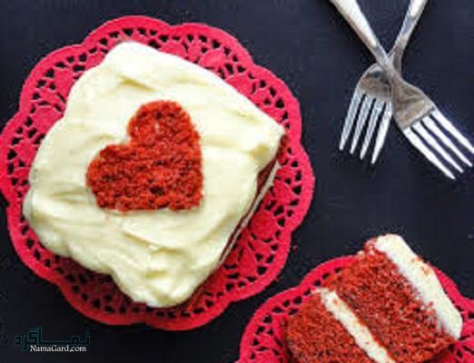 طرز تهیه کیک مخملی عاشقانه شیک + تزیین