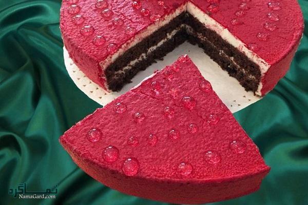 طرز تهیه کیک مخملی عاشقانه شیک + فیلم آموزشی