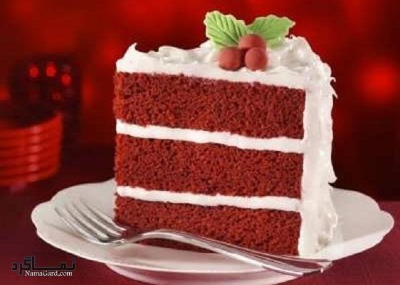 کیک مخملی عاشقانه شیک + فیلم آموزشی