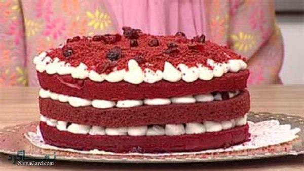 طرز تهیه کیک مخملی عاشقانه