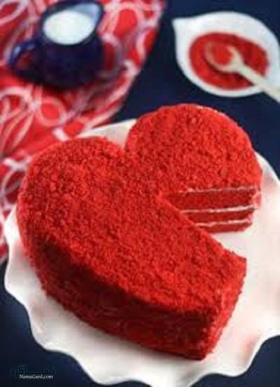 طرز تهیه کیک مخملی عاشقانه زیبا