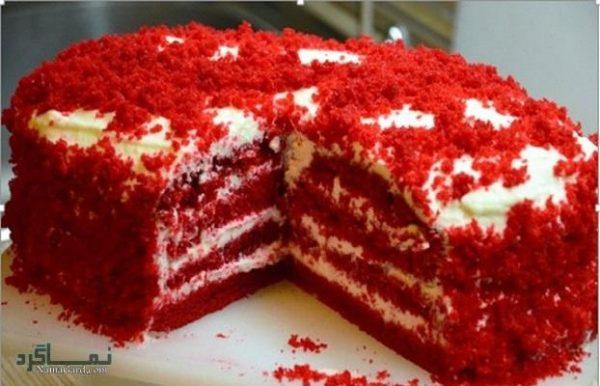 طرز تهیه کیک مخملی عاشقانه زیبا + تزیین