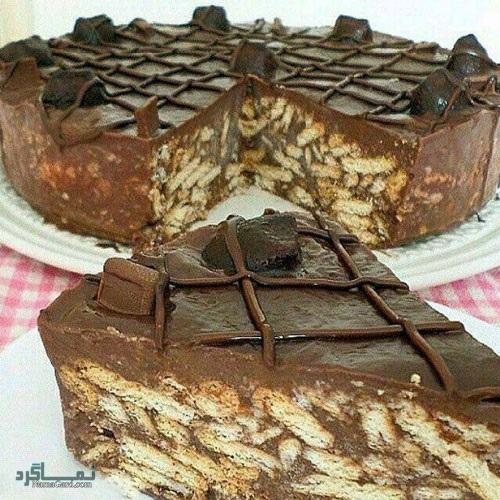 طرز تهیه کیک بیسکویت شیک + تزیین