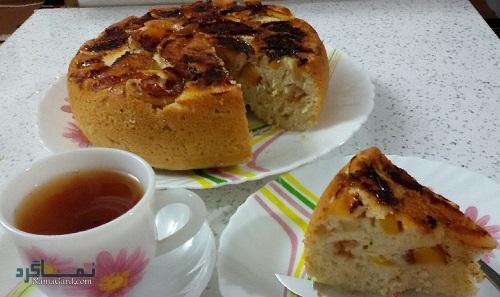 کیک هلو + تزیین