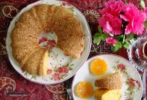طرز تهیه کیک کنجد مجلسی + تزیین