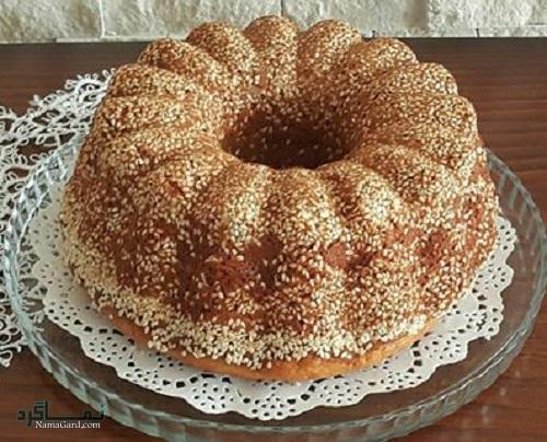 طرز تهیه کیک کنجد خوش طعم + تزیین
