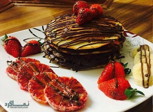 طرز تهیه پن کیک شکلاتی + تزیین