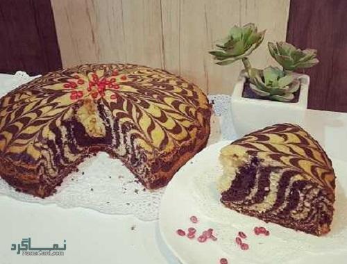 طرز تهیه کیک زبرا ساده + تزیین
